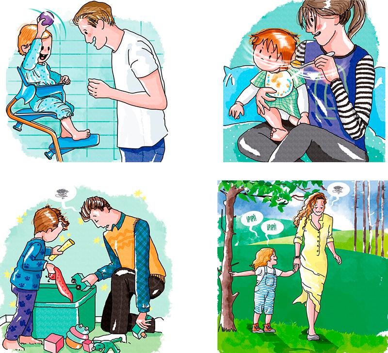 Ilustraciónes realizadas para post semanales en redes sociales
