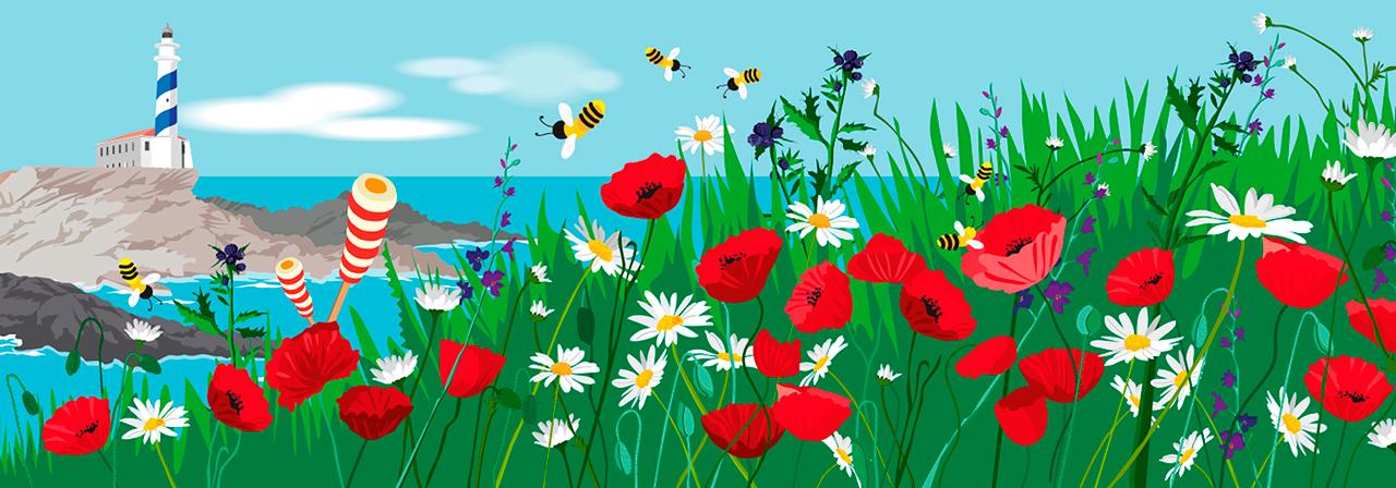 """Ilustración de Header para redes sociales realizado para """"Ice 4 Kids"""" con la primavera por tema (Cliente Andando Producciones)"""