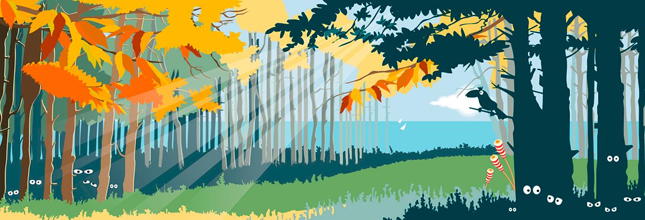 """Ilustración de Header para redes sociales realizado para """"Ice 4 Kids"""" con el otoño por tema (Cliente Andando Producciones)"""