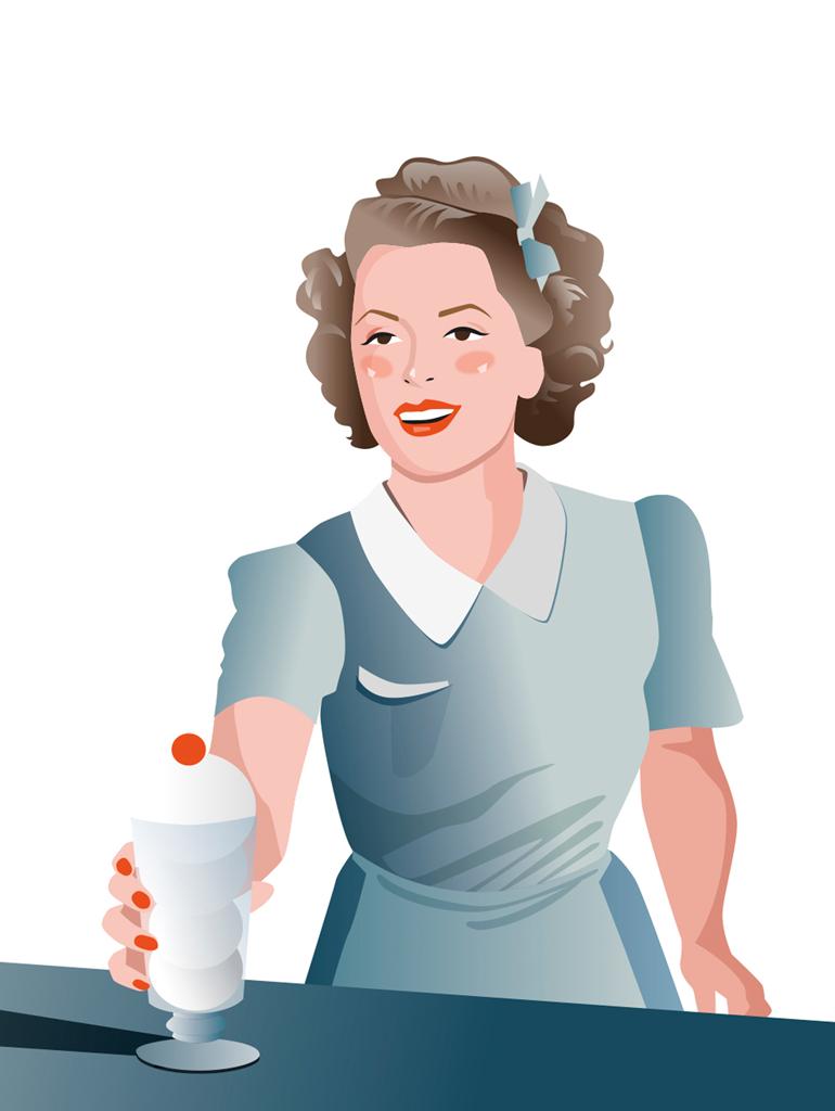 Ilustración vintage para redes sociales realizada para una marca de helados