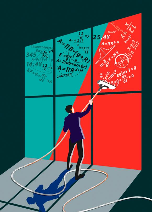 Ilustración realizada para portada de revista. El tema era la masiva captación de matemáticos por parte de grandes empresas
